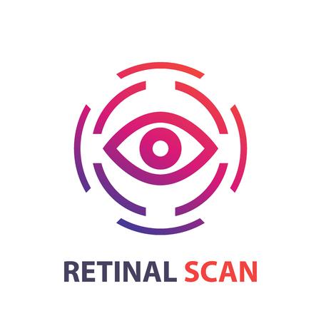 retina: retina scan icon, logo on white, eye scanner, biometric recognition system