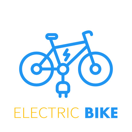 Electric bike line icon, e-bike on white