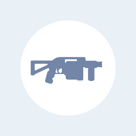 launcher: grenade launcher icon isolated on white, assault firearm Illustration