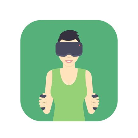 short haircut: girl in virtual reality glasses, flat style female character, smiling gal with short haircut, vector illustration