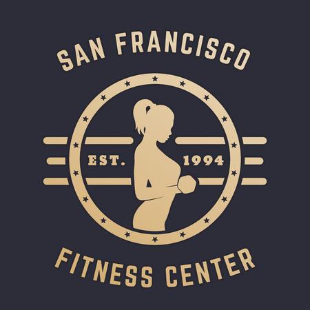 bicep curls: Round Vintage emblem, logo with exercising girl, gold on dark Illustration