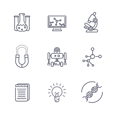 over lab: Science line icons isolated on white, research, study, laboratory, chemistry, physics, biology, robotics, mechanical engineering, vector illustration Illustration