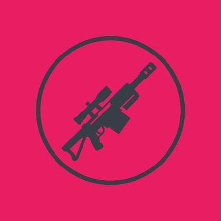 Sniper rifle icon in circle, vector illustration
