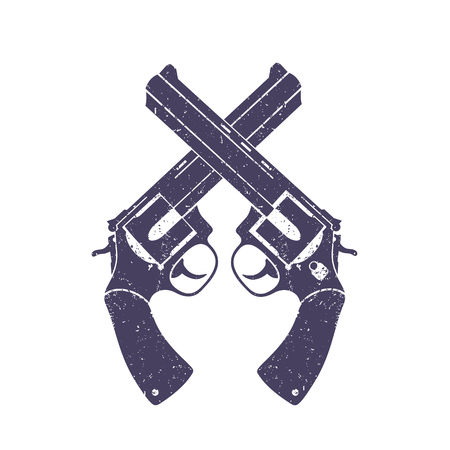 crossed revolvers over white, with grunge texture