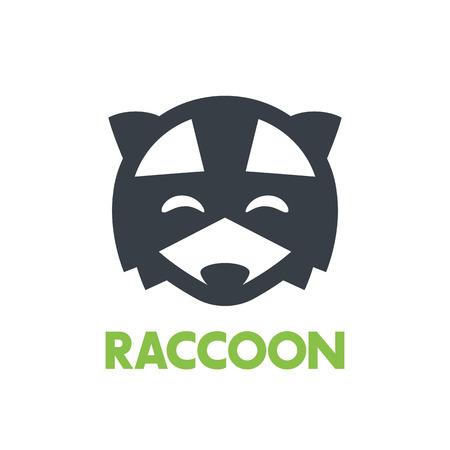 simple logo: raccoon logo, simple icon over white