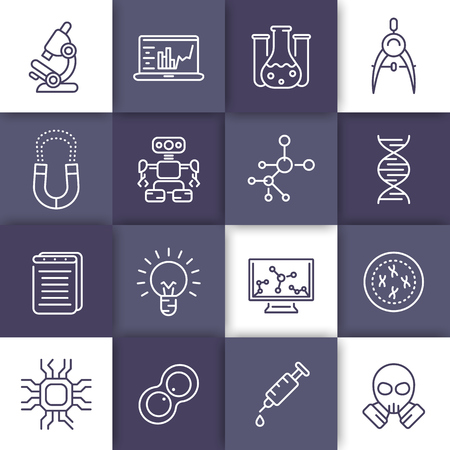 integrated circuit: Science and research line icons set, laboratory, genetics, chemistry, physics, integrated circuit design, robotics, mechanical