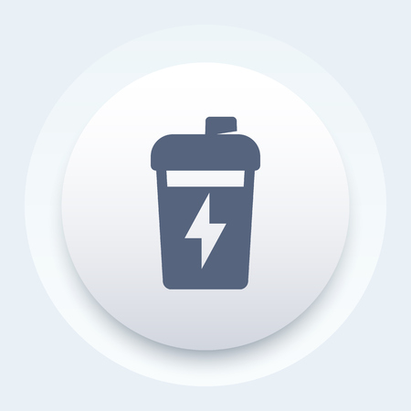 circular muscle: Sport shaker, nutrition for gym training round icon