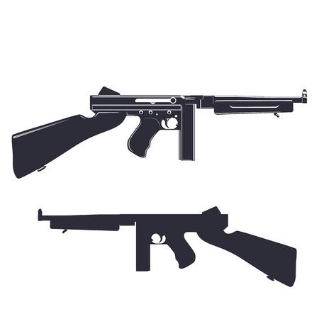 american submachine gun isolated on white, vector illustration Illustration
