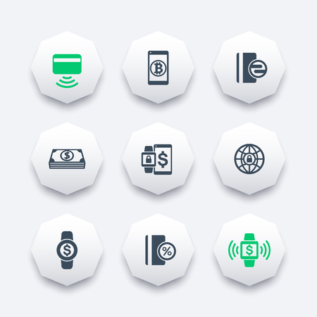 wirelessly: modern payment methods icons on octagon shapes, contactless card, payment with wearable devices, vector illustration
