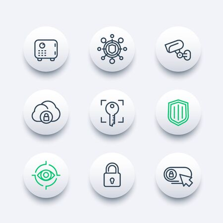 ddos: Security line icons set, secure transaction, lock, shield, strongbox, video surveillance, authentication, biometric recognition, online security, safety