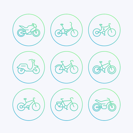 dirtbike: Bikes, bicycle, cycling, motorcycle, motorbike, scooter, electric bike line icons set