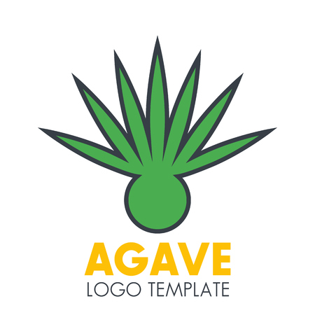 agave: Agave plant logo template on white