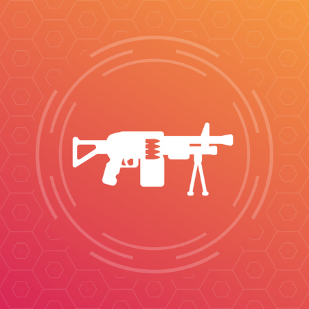 cicles: Machine gun icon, automatic weapon pictogram, vector illustration Illustration