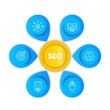 seo infographics template with line icons, search engine optimization, internet marketing, website indexing