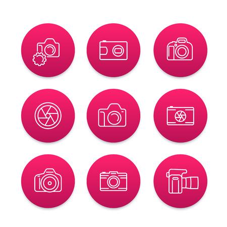 camera, dslr, aperture round line icons set, vector illustration