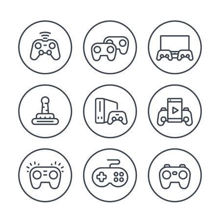 gamepads line icons in circles over white, wireless game controller, console, video gaming, joystick
