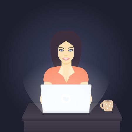 freelancer working at laptop in dark room, vector illustration