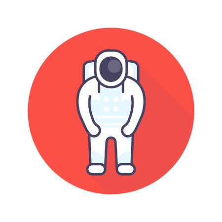 spaceflight: Astronaut icon in flat style, space suit pictogram, vector illustration Illustration