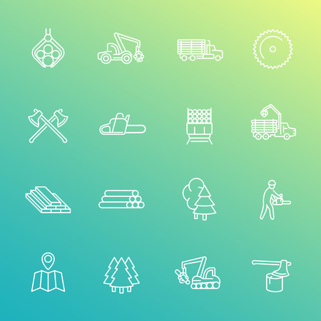 logging: Logging line icons set, forest harvester, lorry, chainsaw, lumber, sawmill, axes, feller buncher Illustration