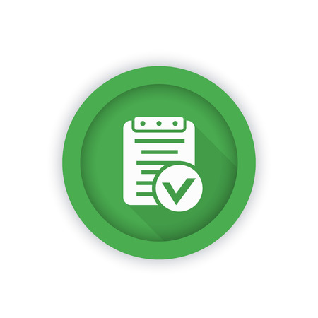 indent: valid document icon, approved report round green pictogram, vector illustration Illustration