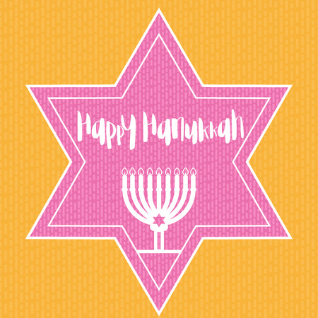 Happy Hanukkah template with menorah, traditional candelabra, candles and star, vector illustration