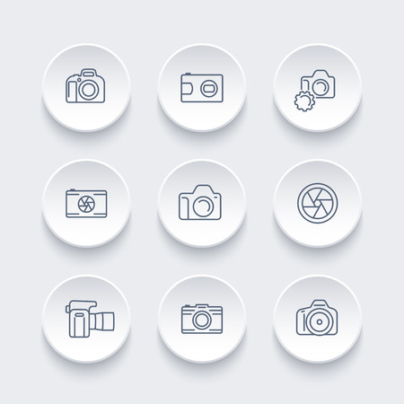 camera, photography line icons set, dslr, aperture, slr camera, front and side view, vector illustration