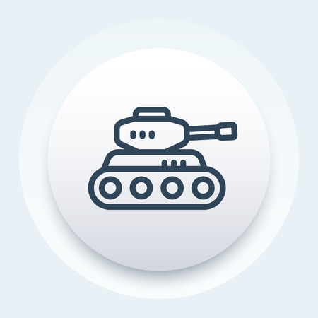 armoured: battle tank icon, armoured fighting vehicle linear pictogram Illustration