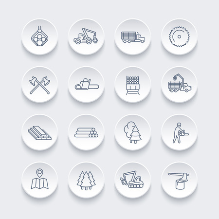 logging: Logging line icons set, forest harvester, logging truck, lorry, chainsaw, lumber, sawmill