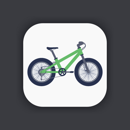 snow tires: Fat bike icon in flat style, green bicycle with fat tyres, vector illustration