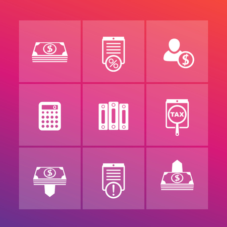 mortgage rates: Bookkeeping, finance, payroll icons set, cash, payments, accounting, vector illustration