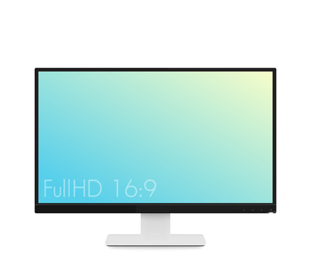 fullhd: monitor mockup, modern realistic computer display with wide screen and thin frames, vector illustration Illustration