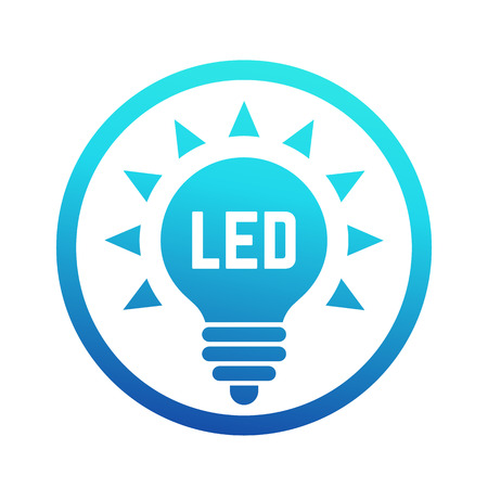 led light: led light bulb icon with blue gradient Illustration