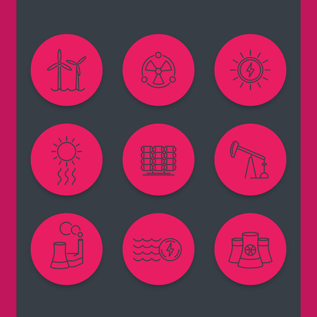 energy production: Power, energy production line icons set, solar, wind, nuclear energetics