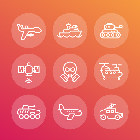 armoured: army line icons set, armoured fighting vehicles, military drone, aviation, navy, combat ship, satellite, cargo helicopter Illustration