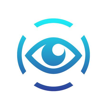 iris scan icon on white, eye scanning, biometric recognition symbol Illustration