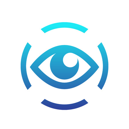 iris scan icon on white, eye scanning, biometric recognition symbol Illustration