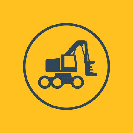 wheeled: Forest harvester icon in circle, wheeled feller buncher, vector illustration