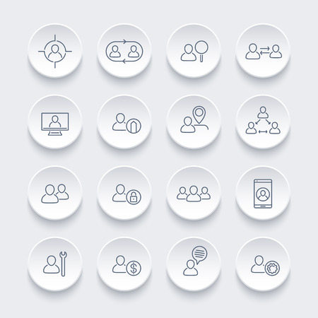 labor market: Personnel line icons set, human resources, HR, team, employee, vector illustration Illustration