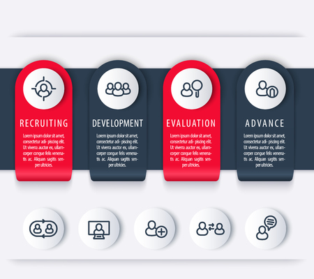 employee development: Staff, HR, employee development timeline template, steps, infographics elements with line icons