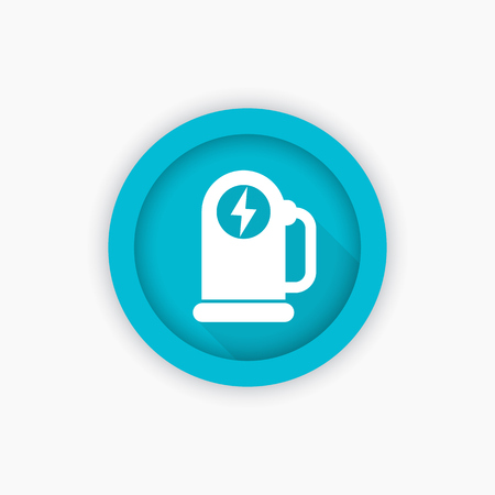 electric blue: car charging station for electric vehicles, icon, vector symbol Illustration