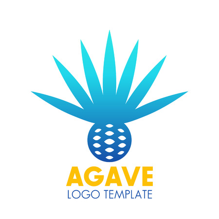 agave: Agave plant, flower logo template over white