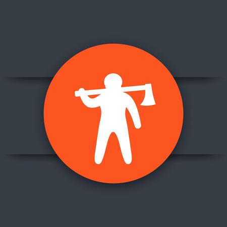lumberjack icon, man with axe, lumberman round pictogram