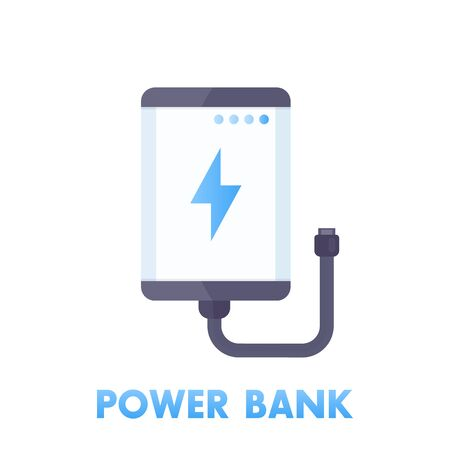 portative: power bank icon in flat style isolated on white, vector illustration Illustration