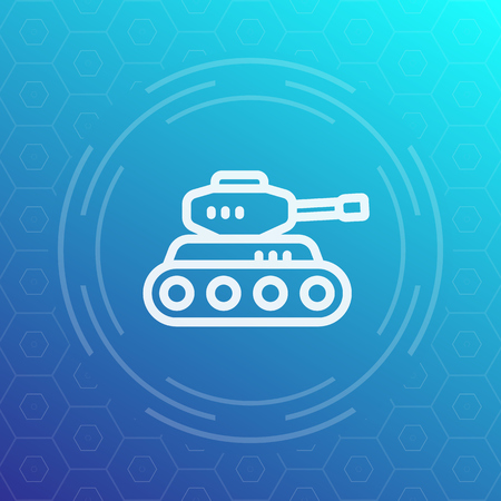 armoured: battle tank line icon, heavy armoured combat vehicle
