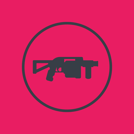 launcher: grenade launcher icon in circle, vector illustration