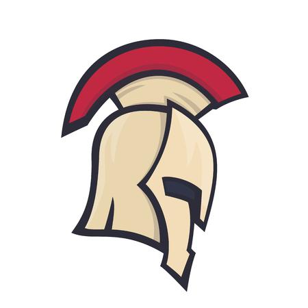 spartan helmet, side view, logo element over white