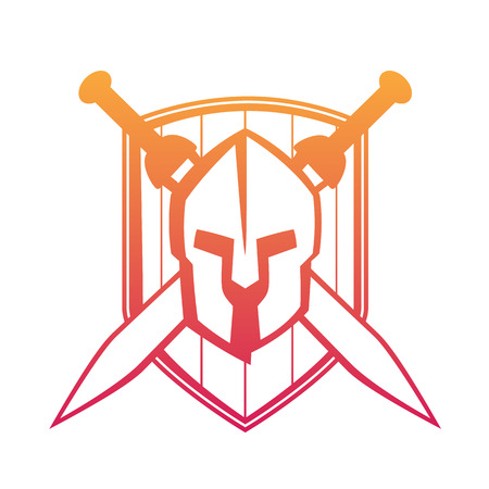 spartan helmet with crossed swords and shield isolated on white, vector illustration Illustration