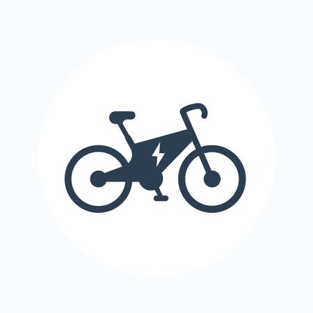 Electric bike icon, city ecologic transport, e-bike pictogram isolated on white