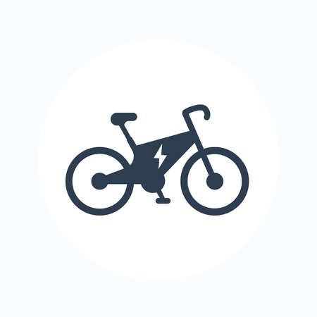 Electric bike icon, city ecologic transport, e-bike pictogram isolated on white
