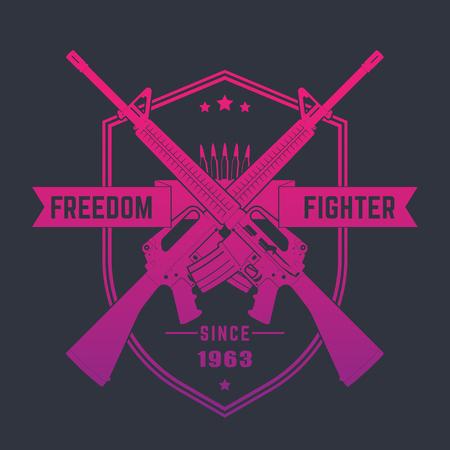 m16 ammo: Freedom fighter, vintage emblem with assault rifles, vector illustration Illustration